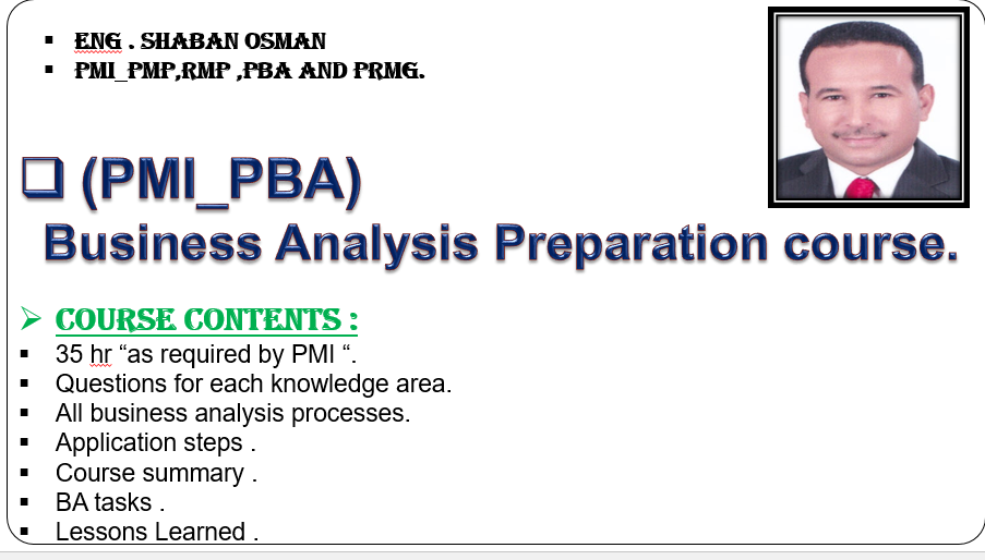 PMI_PBA Business analysis Course_36 hr_Arabic & English